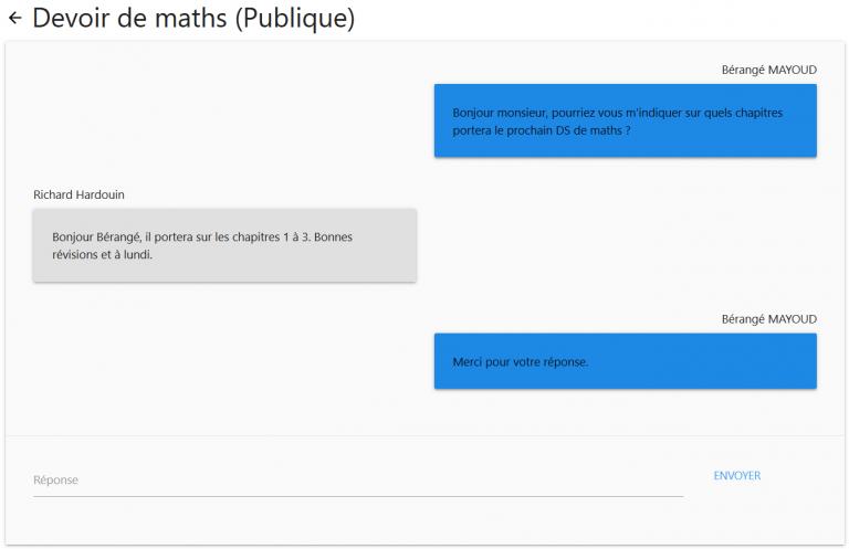 Interface de questions étudiants/enseignants